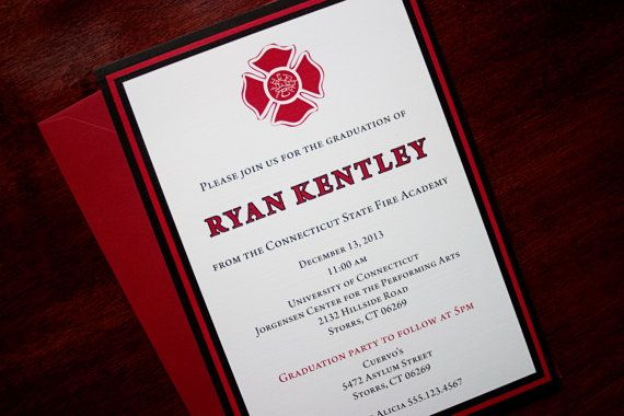 Red Line  Fire Academy Graduation Announceent or Invitation  Pinterest  The ojays Design