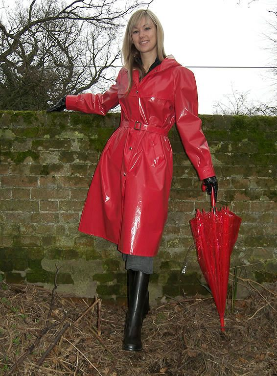 Vintage Shiny Red Raincoat  Womens Styles That I Love Fowl Weather Edition  Pinterest