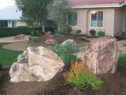 boulder in landscaping landscape