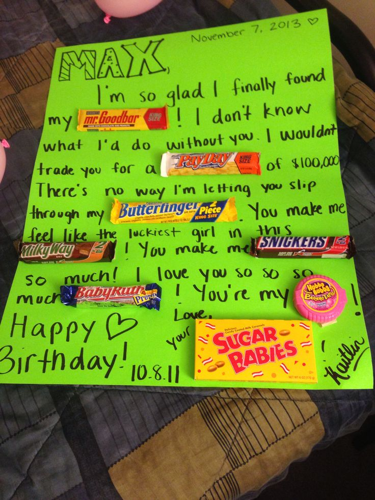 For my boyfriend on his birthday candy birthday card