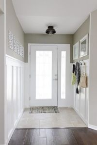 narrow entry hall idea. That grey plus black lamp and ...