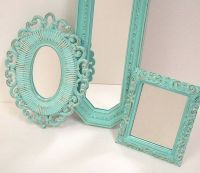 Shabby Chic Wall Mirrors Cottage Ornate Frames Turquoise ...