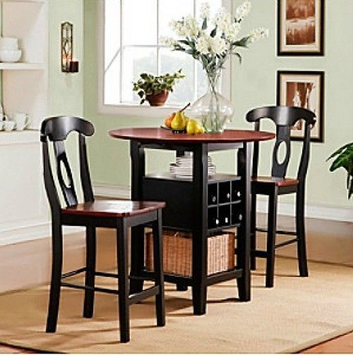 small bistro table and chair folding with 3 piece kitchen set bar wine rack chairs black dining storage shelf | dsd ...