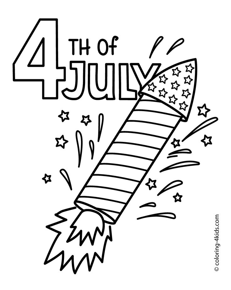July 4 rocket coloring pages, USA independence day