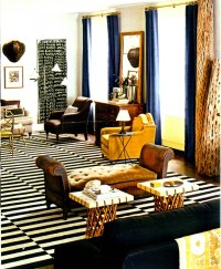 Rustic, traditional living room--but the pops of yellow ...