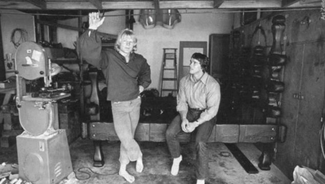 Dave Draper And Arnold Schwarzenegger In Daves Woodshop
