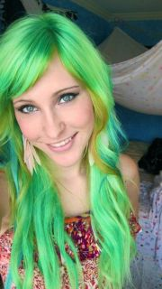 neon hair long green