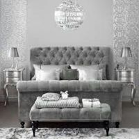 Dove Gray Home Decor  velvet tufted grey bed | Sparkle ...