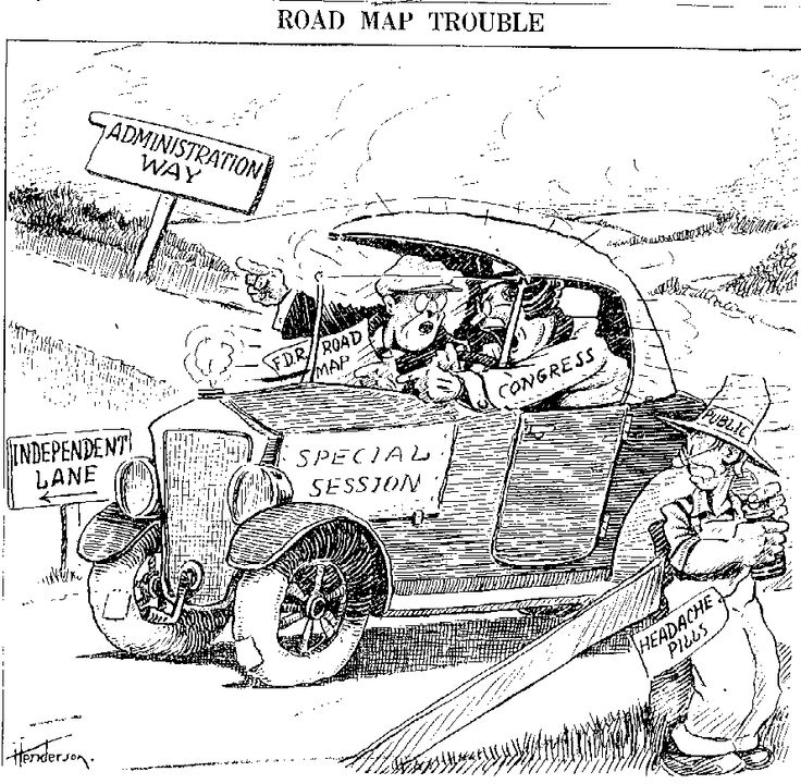 FDR and Congress fighting over New Deal etc... leaving
