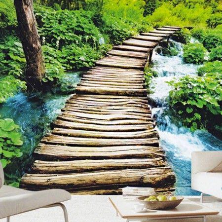 fotobehang natuur  pad rivier en boom  Behang