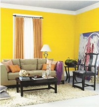 Interior Designs, Beautiful Small Space Yellow Paint Color ...