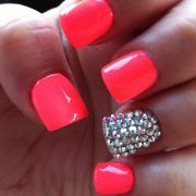 neon coral nails ideas