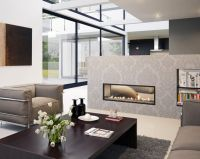 Two-sided fireplace gives room division - Open Fireplace ...