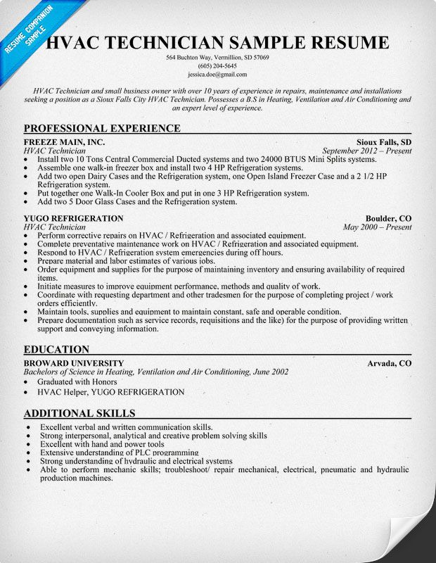 HVAC Technician Resume Sample resumecompanioncom  Heating Ventilation Air Conditioning and
