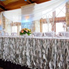 Chair Covers Wish Inflatable Soccer Ball Silver Curly Willow Table Skirting With Rhinestone Brooches, White Covers, Gray Sashes ...
