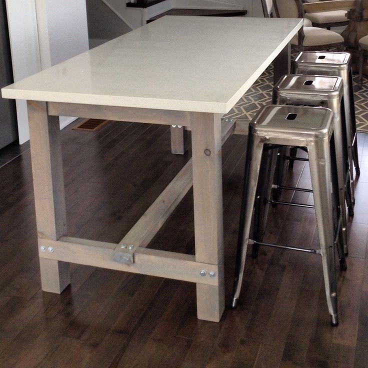 diy kitchen island on wheels pendant lighting harvest table with white quartz counter ...