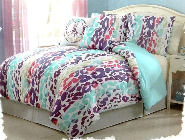 Girls Bedding Blue Pink Purple Leopard Bed In A Bag