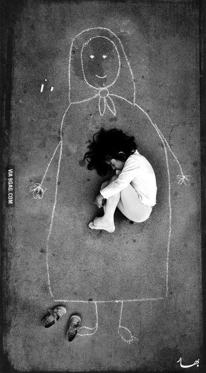 An Iraqi girl in an orphanage – missing her mother, so she drew her and fell asleep inside her. Very sad