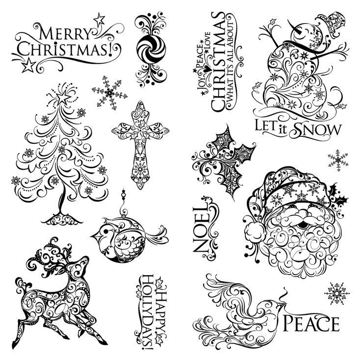 Inkadinkado Christmas Clear Stamps 4X8-Holiday Filigree