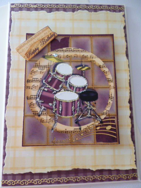 Music Drums Male Birthday Greeting Handmade Card 3D