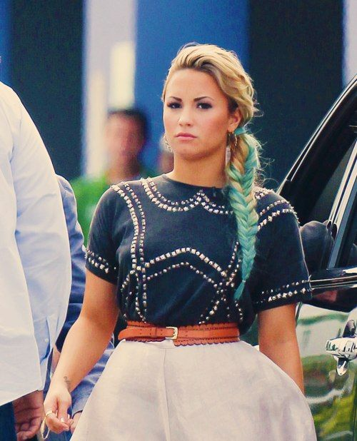 Demi Bluevato With Her Blue Dip Dyed Hair In A Fishtail