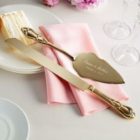 gold plated wedding cake knife and server | Wedding Board ...