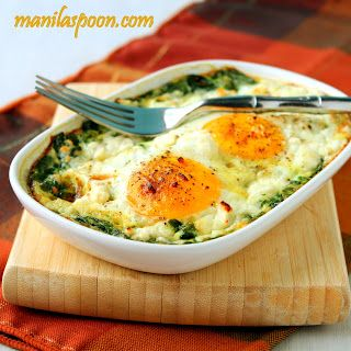 Clean Eating Baked Spinach and Eggs. Follow Our Board for more Healthy Recipes! https://www.SportsNutritionMarket.com