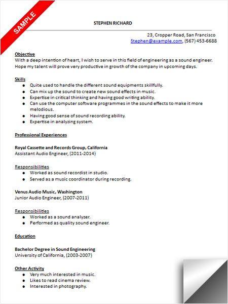 live sound engineer resume sample