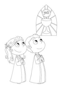 Dibujos para colorear de primera comunion para nios ...