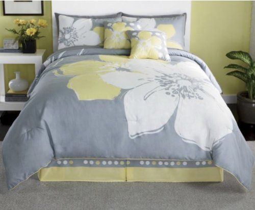 15 Pieces MARISOL Yellow Grey White Comforter Bedinabag