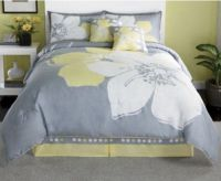 15 Pieces MARISOL Yellow Grey White Comforter Bed-in-a-bag ...