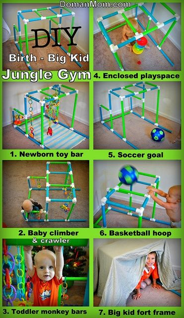 DIY Jungle Gym that grows with your child from birth to big kid. Can be used as