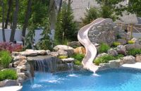 Custom Rock Waterfall with Water Slide from Pool Town in ...