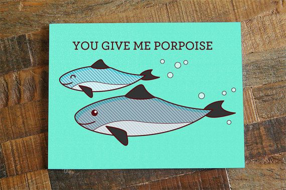 "Cute Love Card ""You Give Me Porpoise"" Pun Anniversary"
