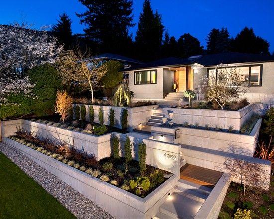 gartenmauer modern um terrasse » sichtschutz, Gartenarbeit ideen