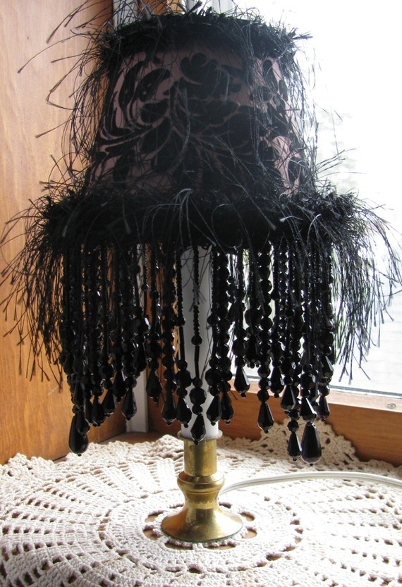 55 Feather Beaded Lamp Shade gothic glam decor  Funky