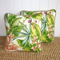 Tropical Orchid Outdoor Fabric Cushion or Pillow Cover ...