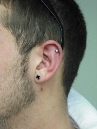 men's helix and lobe piercing | Piercings | Pinterest ...