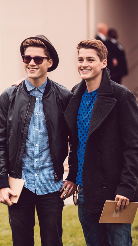 Jack and Finn Harries at the Burberry Prorsum S/S14 show space in London on Tues
