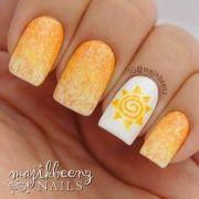 peach nails yellow white