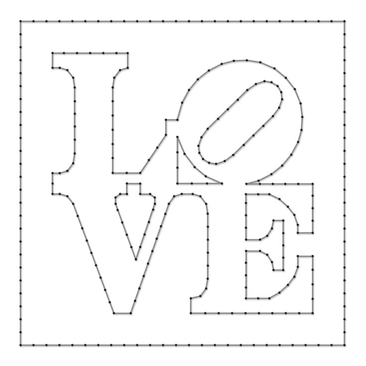 String-art pattern sheet LOVE (designed by Robert Indiana