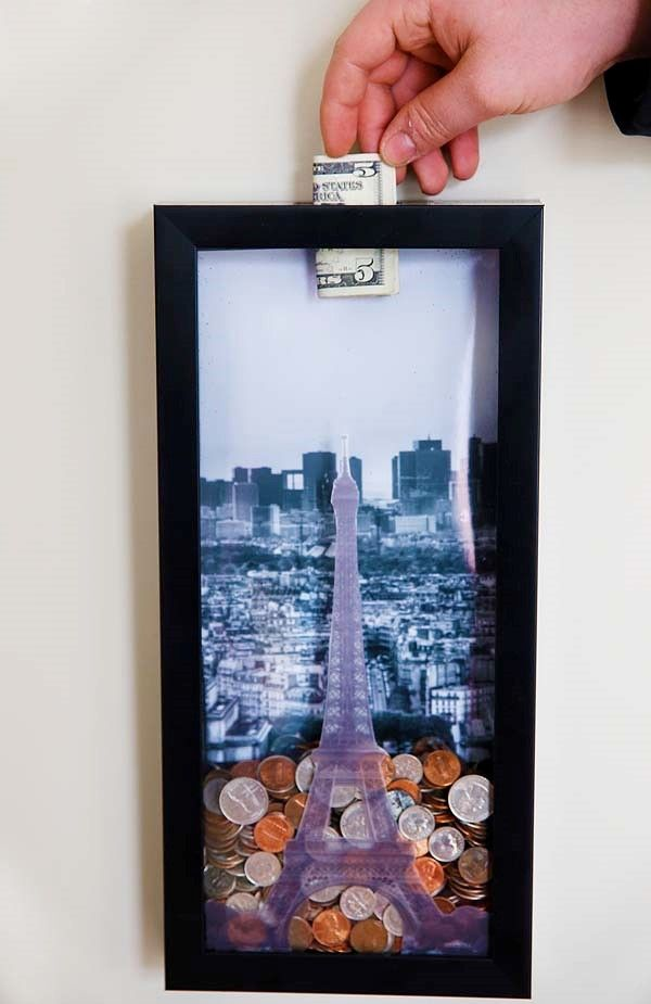 Love this savings shadow box idea.  Can be used for travel or other savings ideas (kids' toy savings?)