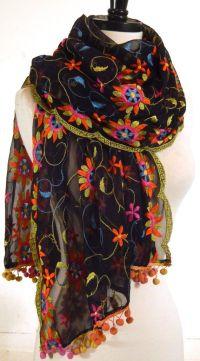 Embroidered Shawl, Floral Wrap, Black Chiffon Scarf, Sheer ...