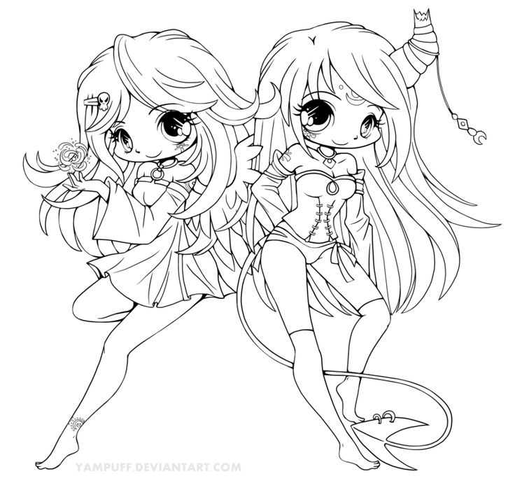 Suii and Iish Lineart by YamPuff.deviantart.com on