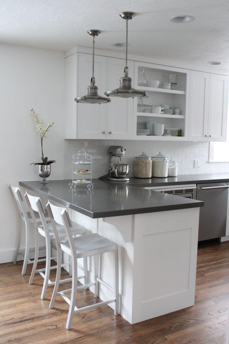This is it!!! White cabinets, subway tile, quartz
