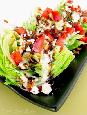Outback Steakhouse Wedge Salad.  I must have overcooked the honey and vinegar because it came out like goo and hardened to a