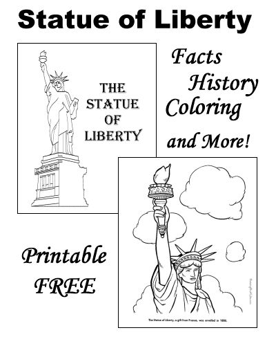 The Statue of Liberty coloring pages, facts, history