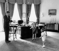 John F. Kennedy with his children, Caroline and John Jr ...
