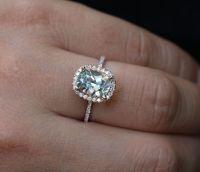 Cushion Rose Gold Aquamarine Engagement Ring with ...