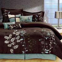 Light Blue and Brown Bedding | Bliss Garden 8-Piece Brown ...